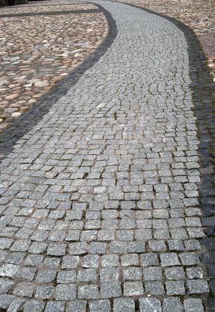 the cobblestones: Old cobblestone path at a park