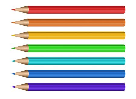 coloured pencil: 7 different color pencils with erasers inrow against a white background Stock Photo