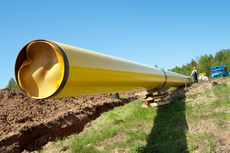 gas pipe: Installation of a gas pipeline against blue sky Stock Photo