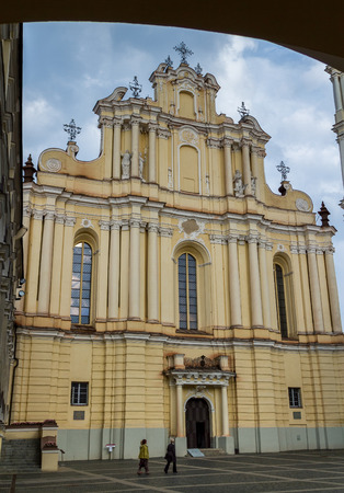oldtown: Facade view of St Johns Church in Vilnius University, Vilnius, Lithuania Stock Photo