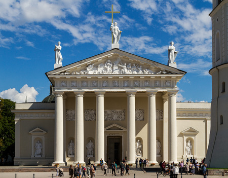 oldtown: Front view of the Cathedral of Vilnius is the main Roman Catholic Cathedral of Lithuania.
