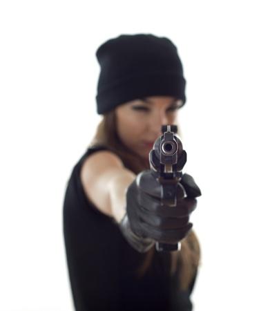 backsight: shooting woman Stock Photo