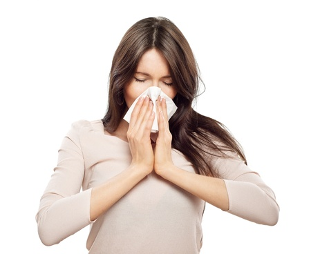 Woman with tissue catched a cold  photo