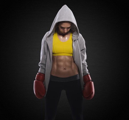 Boxing woman before fight photo