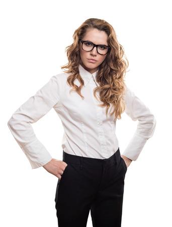 Empresaria con gafas y aspecto serio Foto de archivo