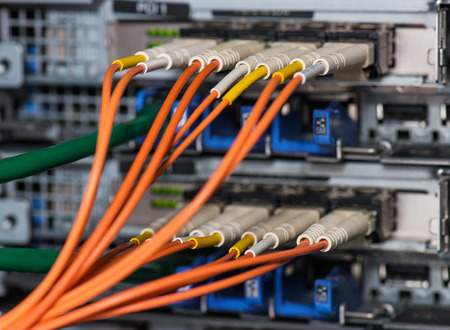 Fiber optical connections with servers photo