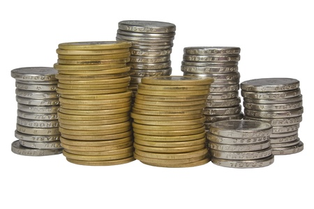 Pile of Brazilian coins gold and silver photo