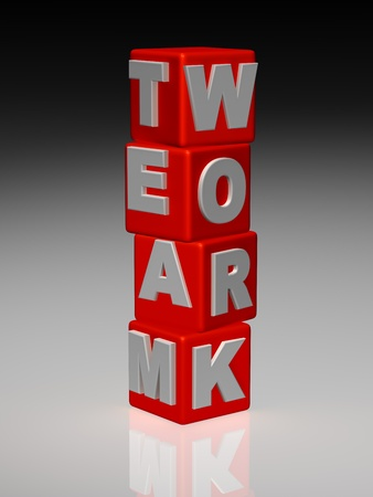 Red cubes arranged in words team work photo
