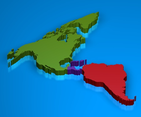 Map in 3D illustration with north america, central america and south america separated. illustration