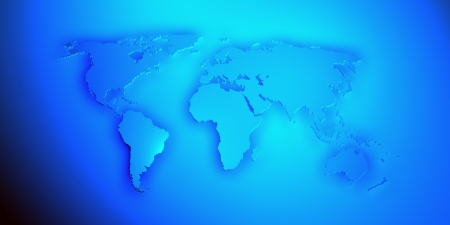 World map render 3D with shadow in blue color photo