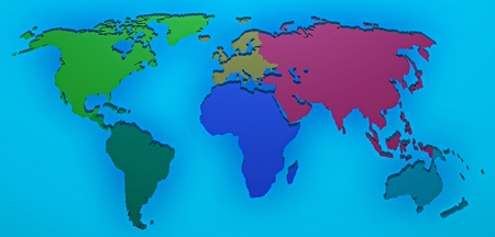 World map 3D render with the different continents separated photo