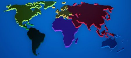 World map render 3D with continents separated by colors photo