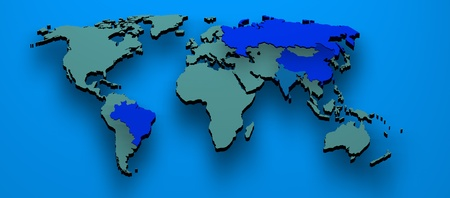 3d map rendered formed by the BRIC countries Brazil, Russia, India and China photo