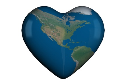 Heart shape in 3D with global map of USA, Central America and South America photo