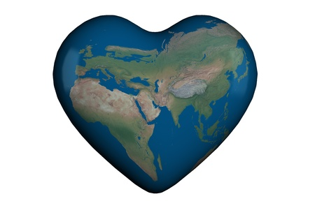 Heart shape in 3D with global map of Europe, Asia and Africa Stock Photo - 9759202