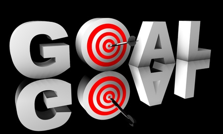 Goal word render in 3D with a bulls-eye photo
