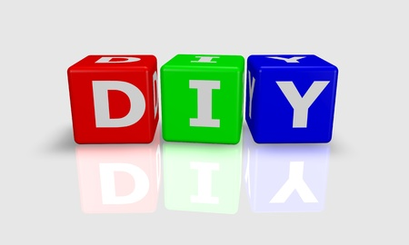 Cube word DIY- do it yourself -  in green, red and blue photo