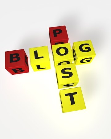 Cube word Blog Post in red and yellow Stock Photo - 9759233