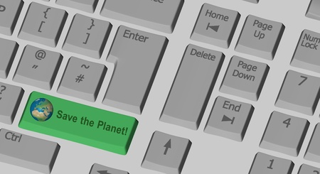 Save the Planet text on the computer keyboard photo