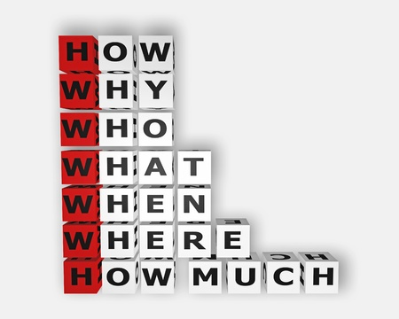 questionary: the 5W 1H concept of questioning Stock Photo