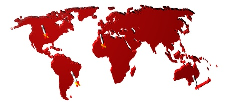 world market: World map render 3D with darts. Concept of world market.