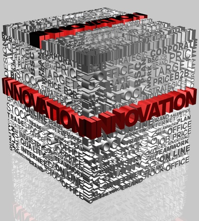 Business words related in cube format with highlighted word Innovation in red photo