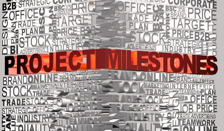 milestones: Business words related with highlighted word Project Milestones Stock Photo