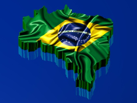 Brazil map rendered with Brazilian flag over the map photo