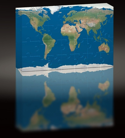 Puzzle of World image over a black background with reflection photo