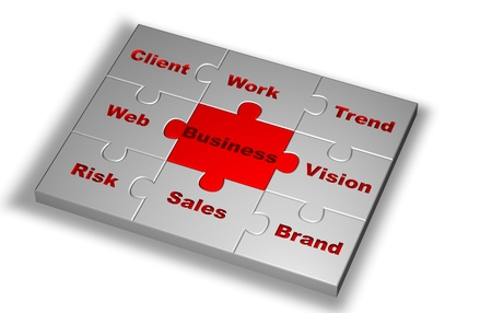 Puzzle in grey color with Business word highlight in red and other words related photo