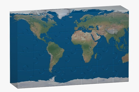 World image over a puzzle photo