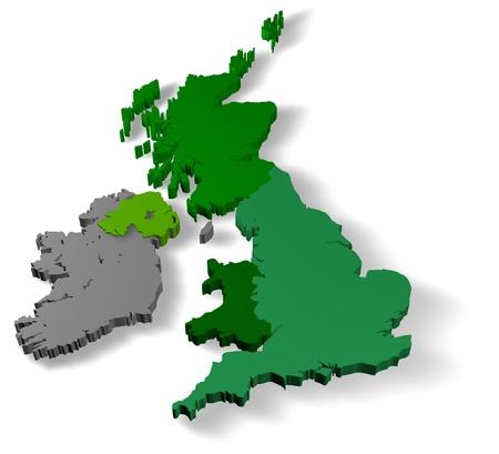 Illustration of united kingdom of great britain with republic of ireland on white background illustration