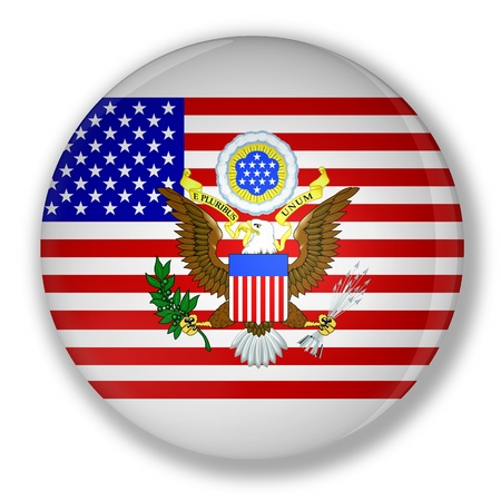 great seal: Illustration of a badge with flag of United States with the great seal Stock Photo