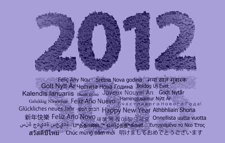 tridimensional: 2012 new year modeled with tridimensional blocks over the world image