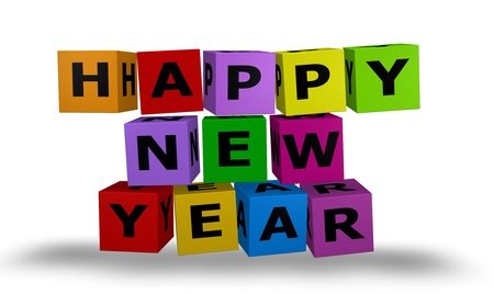 Illustration color cubes with happy new year words Stock Illustration - 10518137