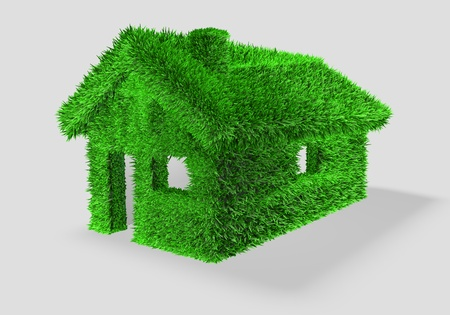 3D illustration of a green house render with grass illustration
