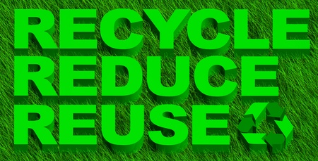 3D illustration of recycle reuse and reduce word over green grass illustration