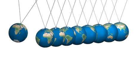 Newton cradle balancing with earth balls over white photo