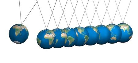 newton cradle: Newton cradle balancing with earth balls over white