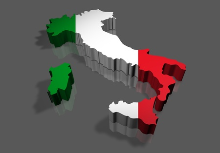 Illustration 3d of italy map render with flag illustration