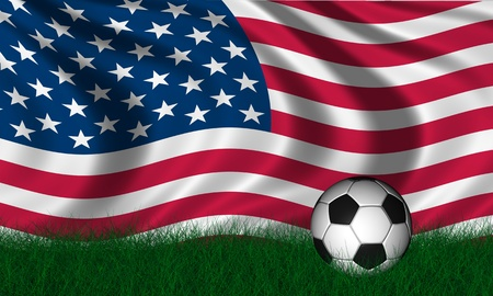 Soccer ball render over green grass and flag of united states photo
