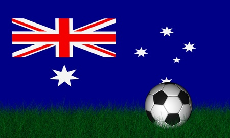 Soccer ball render over green grass and flag of australia photo