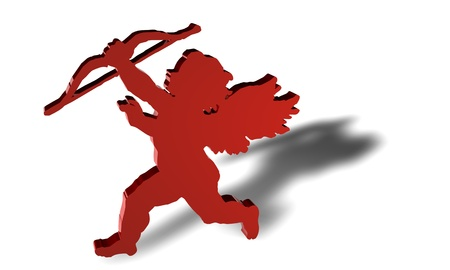 unrecognizable: Angel render in 3D in red color with shadow