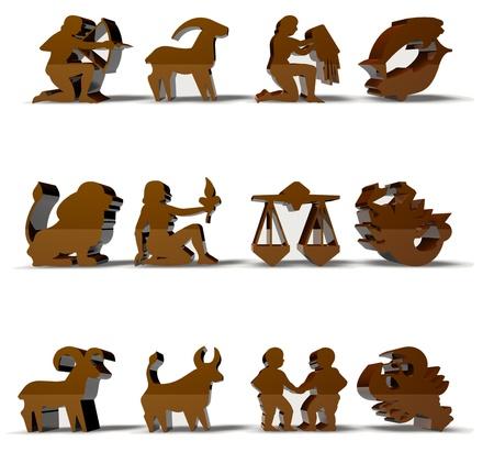 capricornio: Render signos del zodiaco Hor�scopo 3D en color dorado Foto de archivo