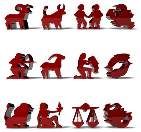 signes du zodiaque: Les signes du zodiaque Horoscope rendu 3D en couleur rouge