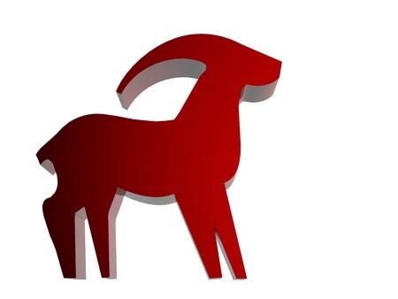 signes du zodiaque: Signe du zodiaque Horoscope 3D render en rouge