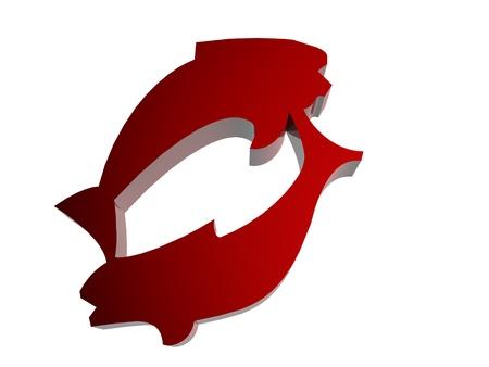 Horoscope zodiac sign 3D render in red