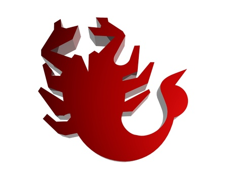 Horoscope zodiac sign 3D render in red photo