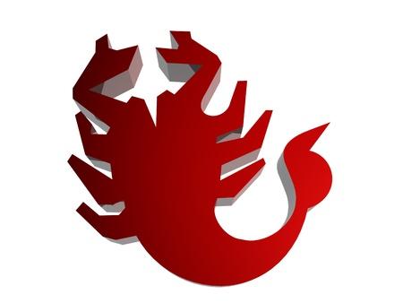 virgo the virgin: Horoscope zodiac sign 3D render in red
