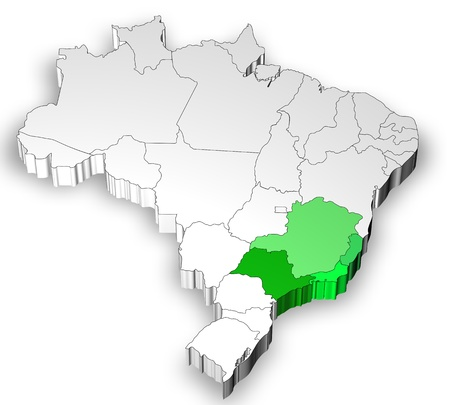 Three dimensional map of Brazil with white background photo
